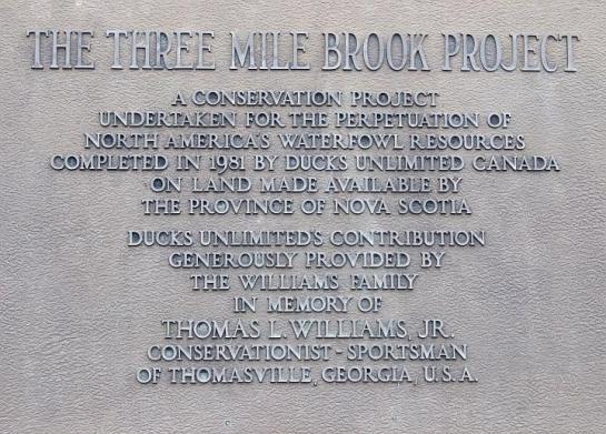 Three Mile Brook plaque