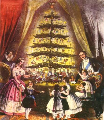 Queen Victoria and her family, pictured around one of the first Christmas trees.
